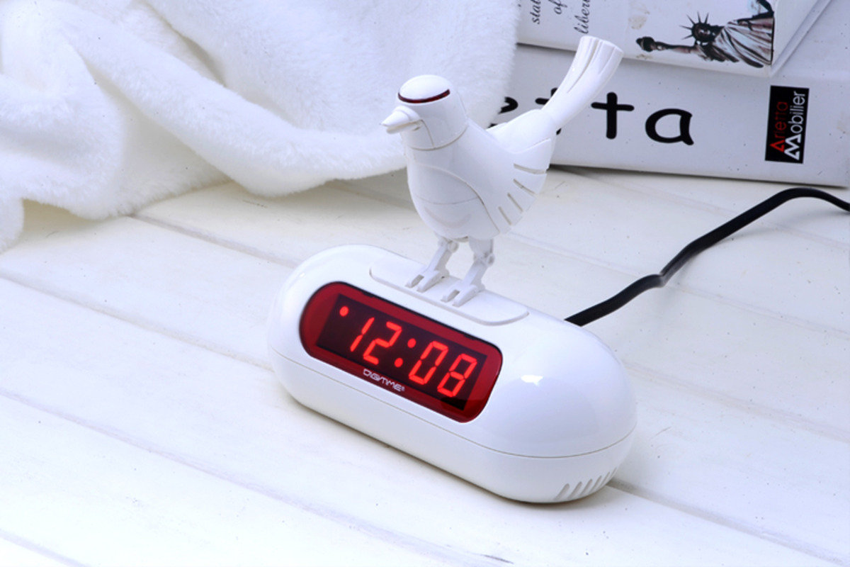 LED 小鳥鬧鐘 時尚 創意 生活 品味 禮品 電子 學生 兒童 靜音 家居 床頭 夜光 貪睡 時鐘