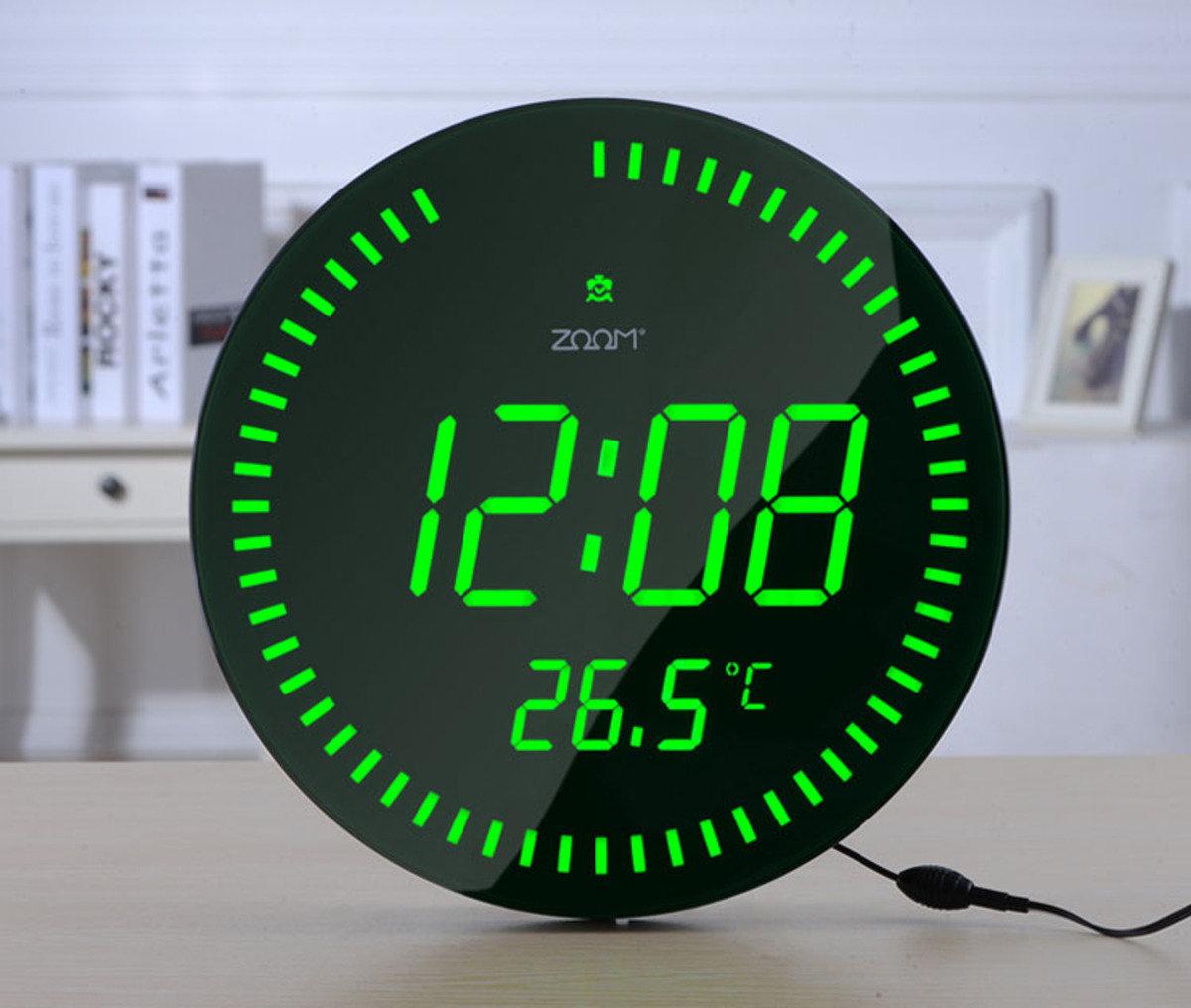LED 掛牆遙控鬧鐘連溫度 時尚 創意 生活 品味 禮品 電子 長者 學生 兒童 靜音 家居 床頭 夜光 貪睡 時鐘
