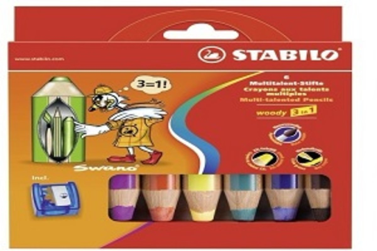 Woody多用途3合一顏色筆-6色連專用筆刨1個