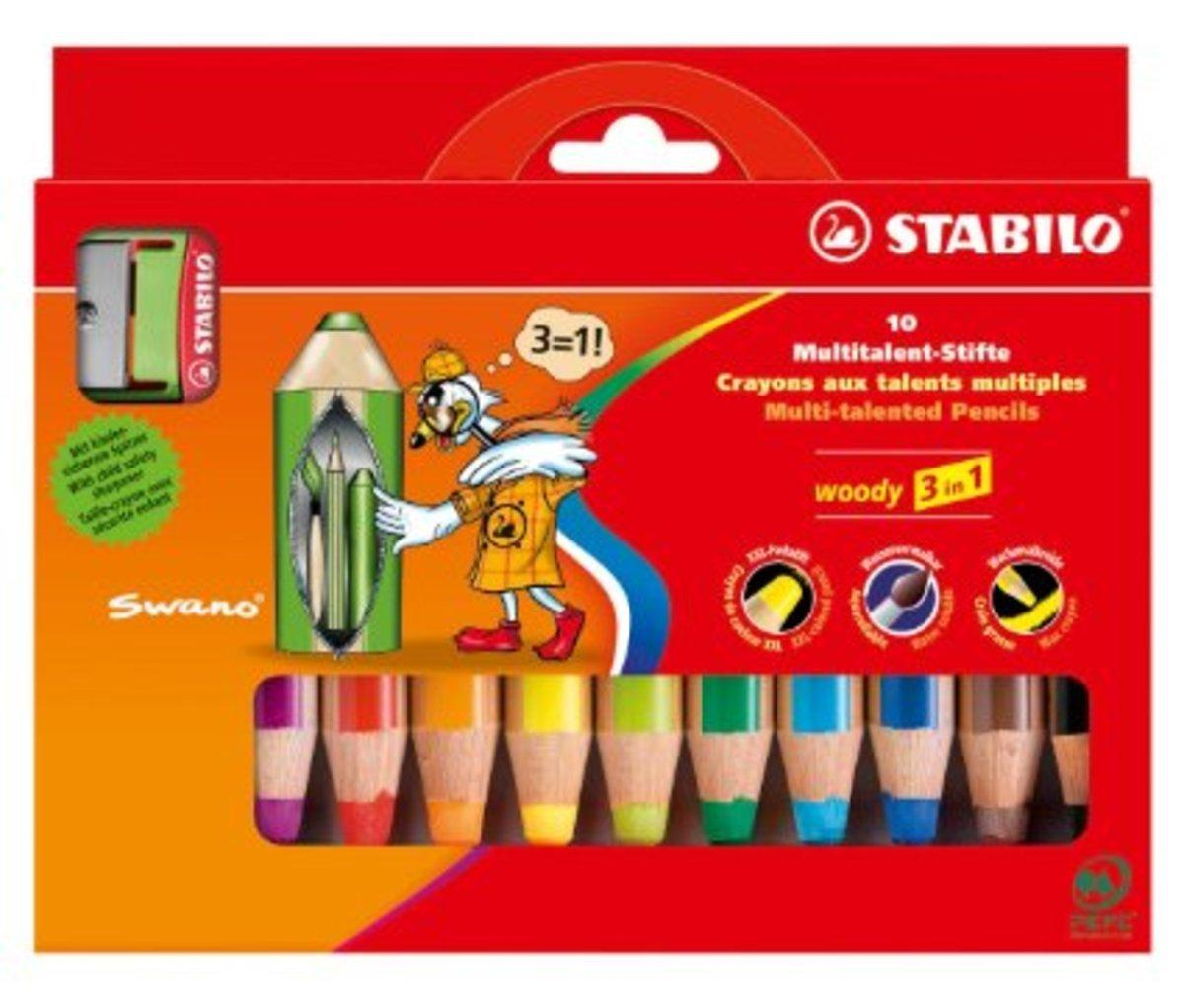 Woody多用途3合一顏色筆-10色連專用筆刨1個