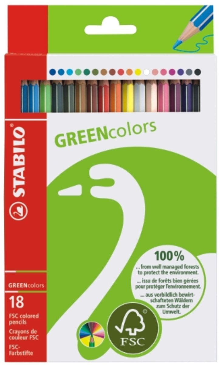 GREEN-FSC環保認證顏色筆18色長