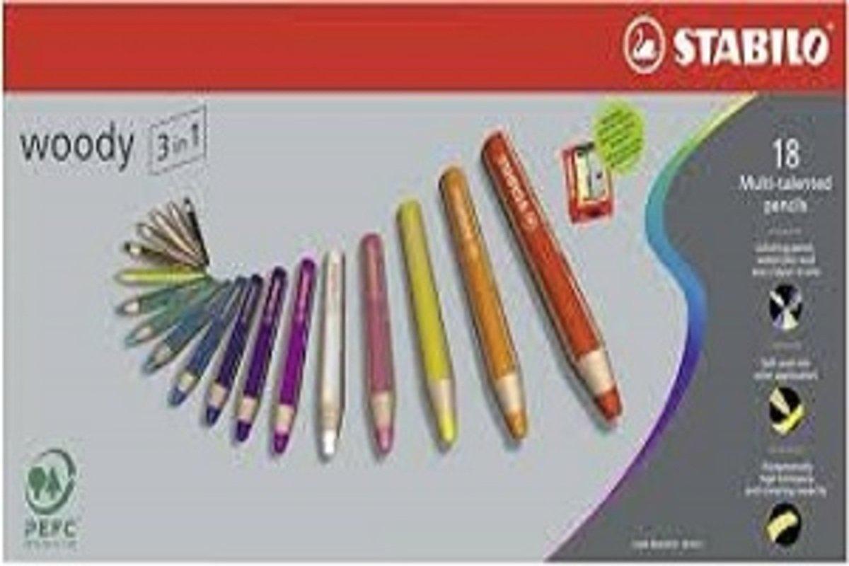 Woody多用途3合一顏色筆-18色連專用筆刨1個