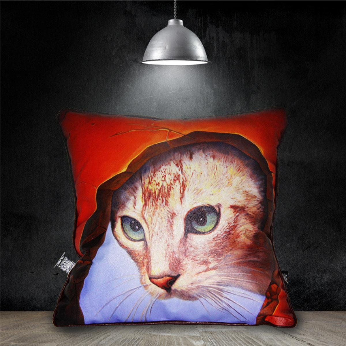 洞中貓咪 - 仿皮革靠墊