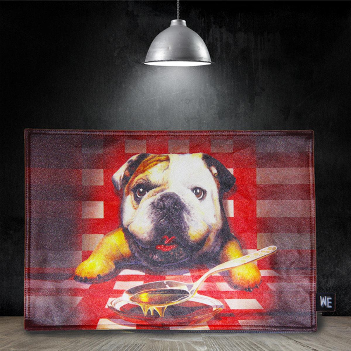 狗狗晚餐 - 仿皮革餐墊