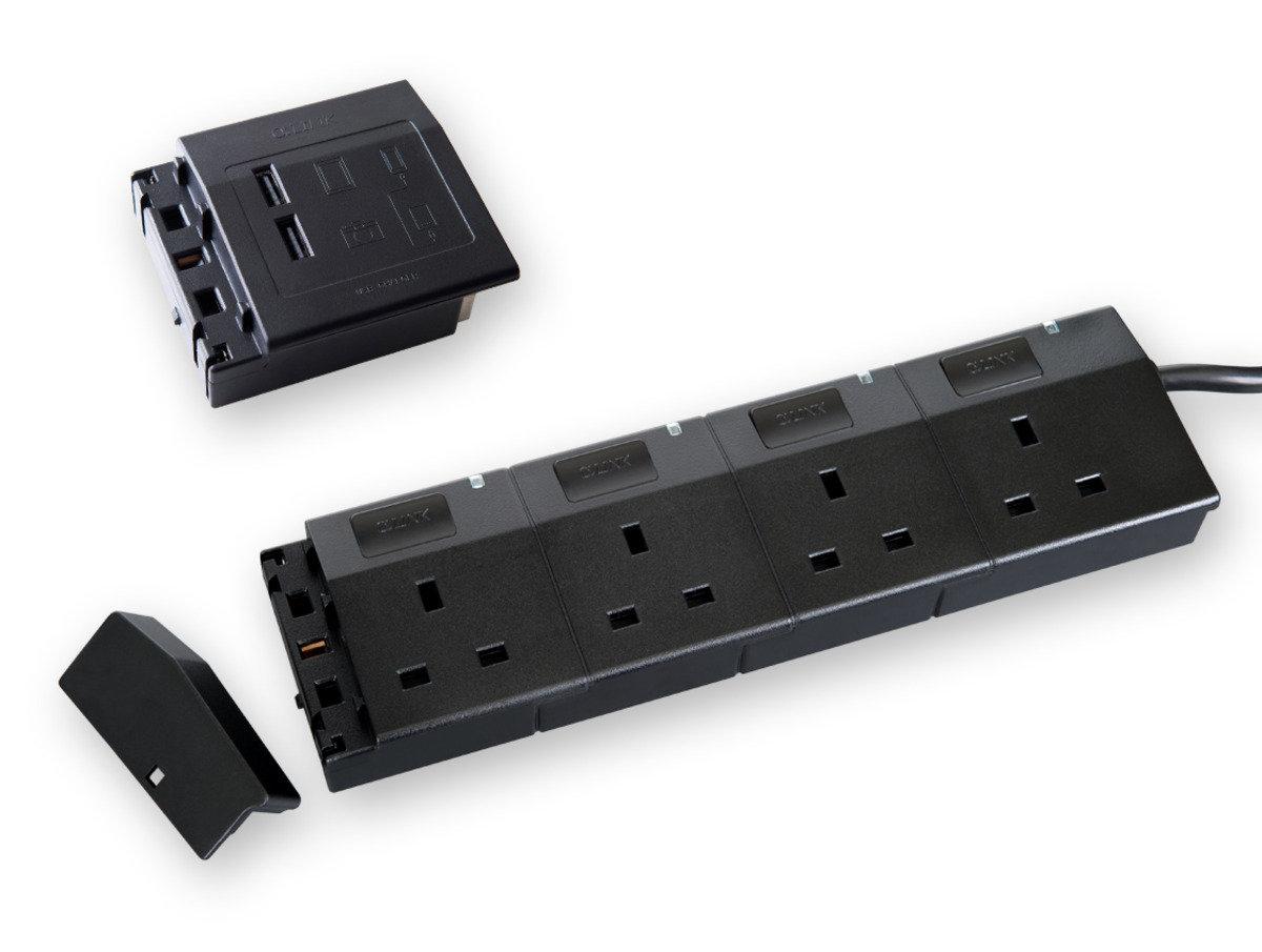 隨插式系列 - 4位可接駁拖板套裝 + USB (黑色)