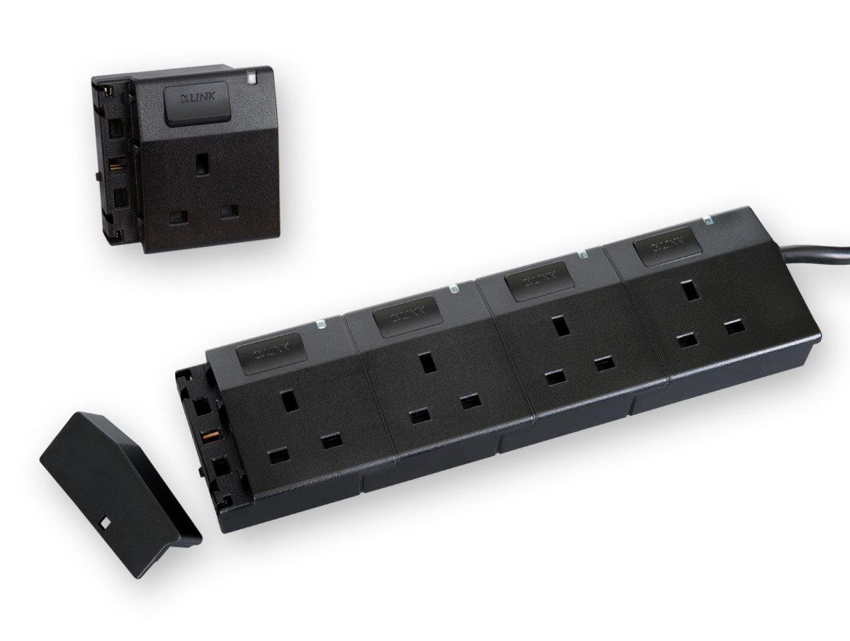 隨插式系列 - 4位可接駁拖板套裝 + 1位電源插座 (黑色)