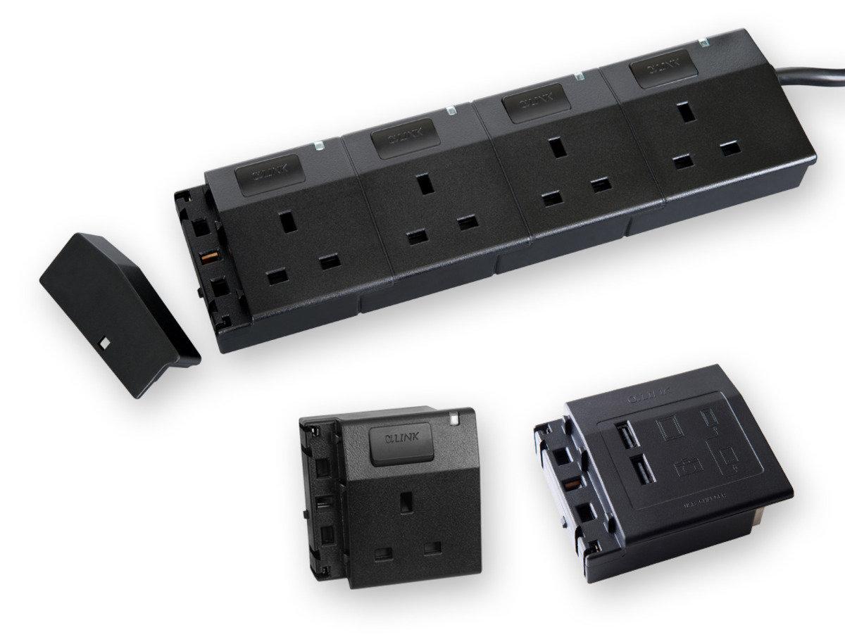 隨插式系列 - 4位可接駁拖板套裝 + 1位電源插座 + USB (黑色)