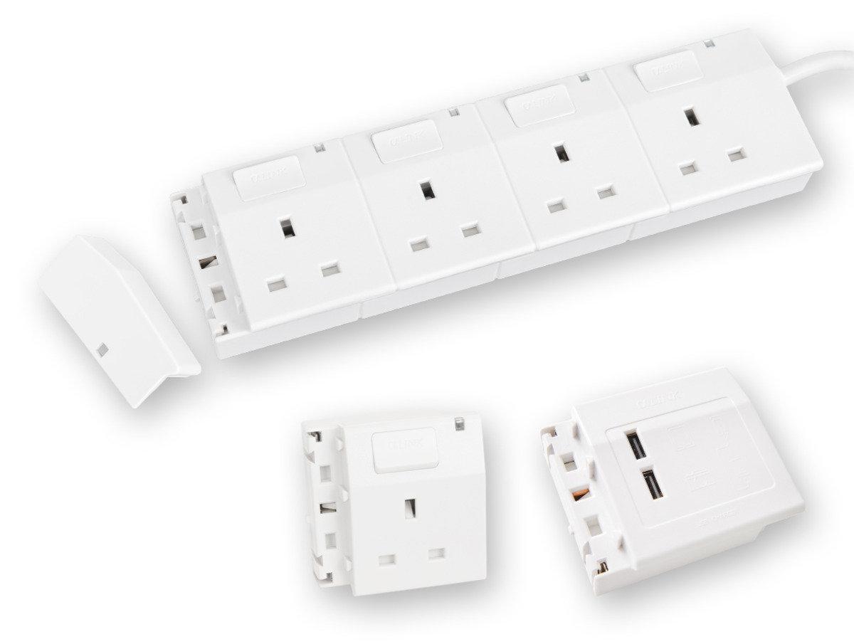 隨插式系列 - 4位可接駁拖板套裝 + 1位電源插座 + USB (白色)