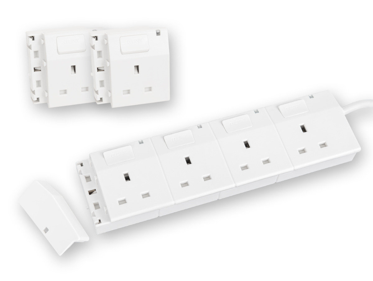 隨插式系列 - 4位可接駁拖板套裝 + 2位電源插座 (白色)