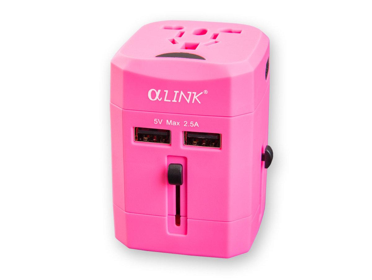 隨插式旅行系列 - USB 全球通轉換插 (粉紅色)