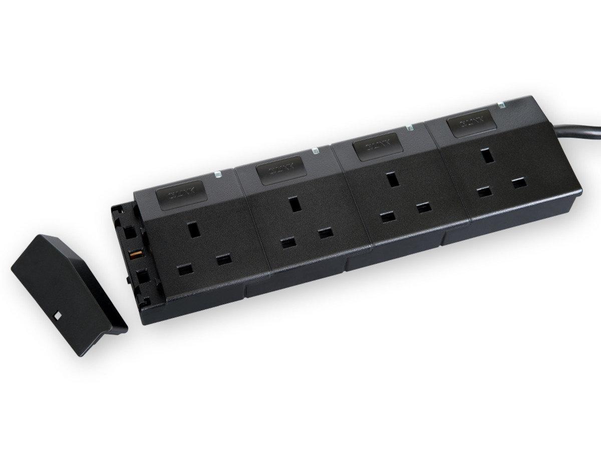 隨插式系列 - 4位可接駁拖板套裝 (黑色)