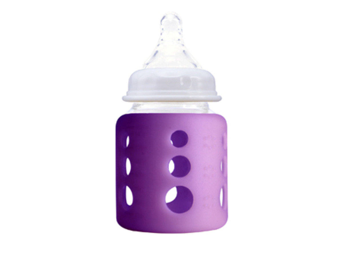 澳洲 Cherub Baby感測顯示寬口玻璃奶樽150ml 5oz- 紫色