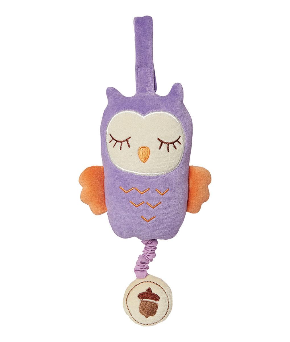 美國紐約My Natural™有機棉音樂拉鈴 - 粉紫貓頭鷹