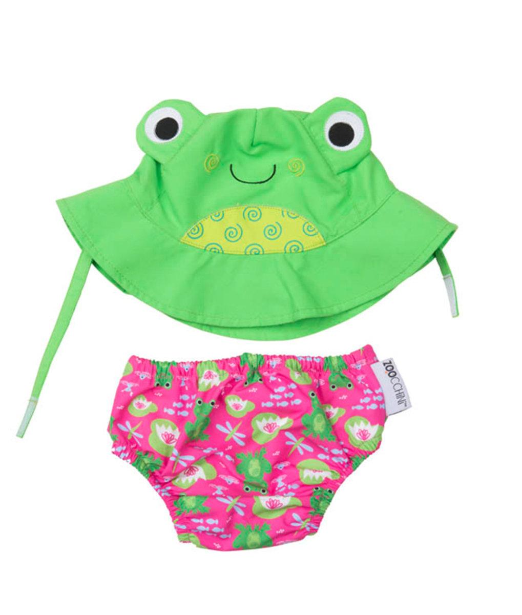 Zoocchini Baby Swim Diaper Sun Hat Set Frog 12 Buy 2 Get 20 Chicco Nail Scissors Pink Massage Oil