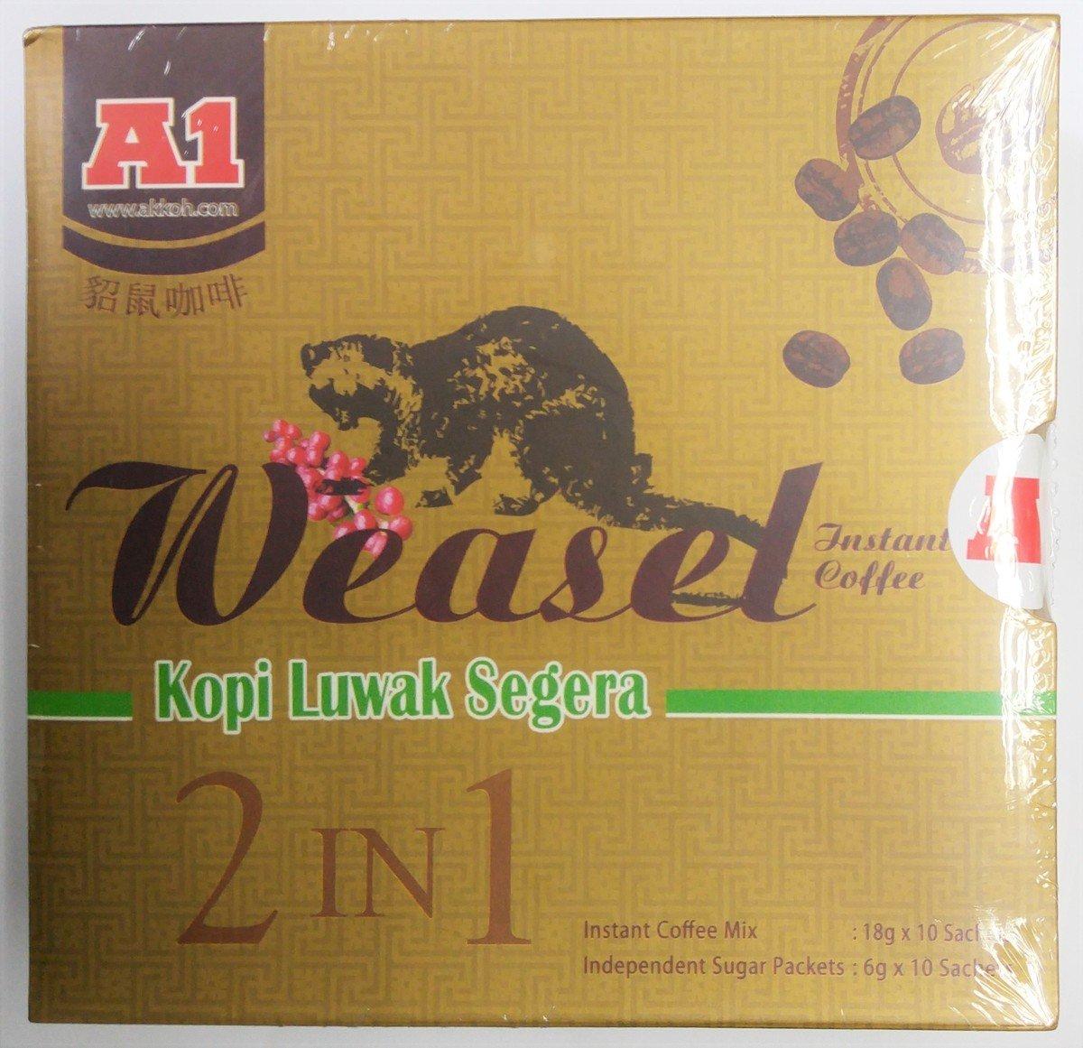 A1 即沖貂鼠咖啡, 180克(18克 x 10條), 附帶獨立糖包 (6克 x 10條)
