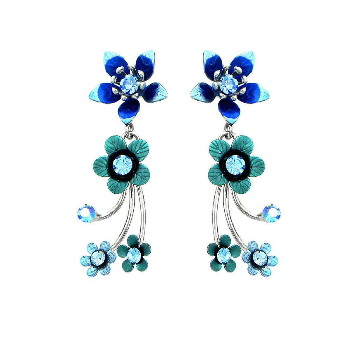 Glamorousky Tiny Blue Flowers Earrings With Blue Austrian Element