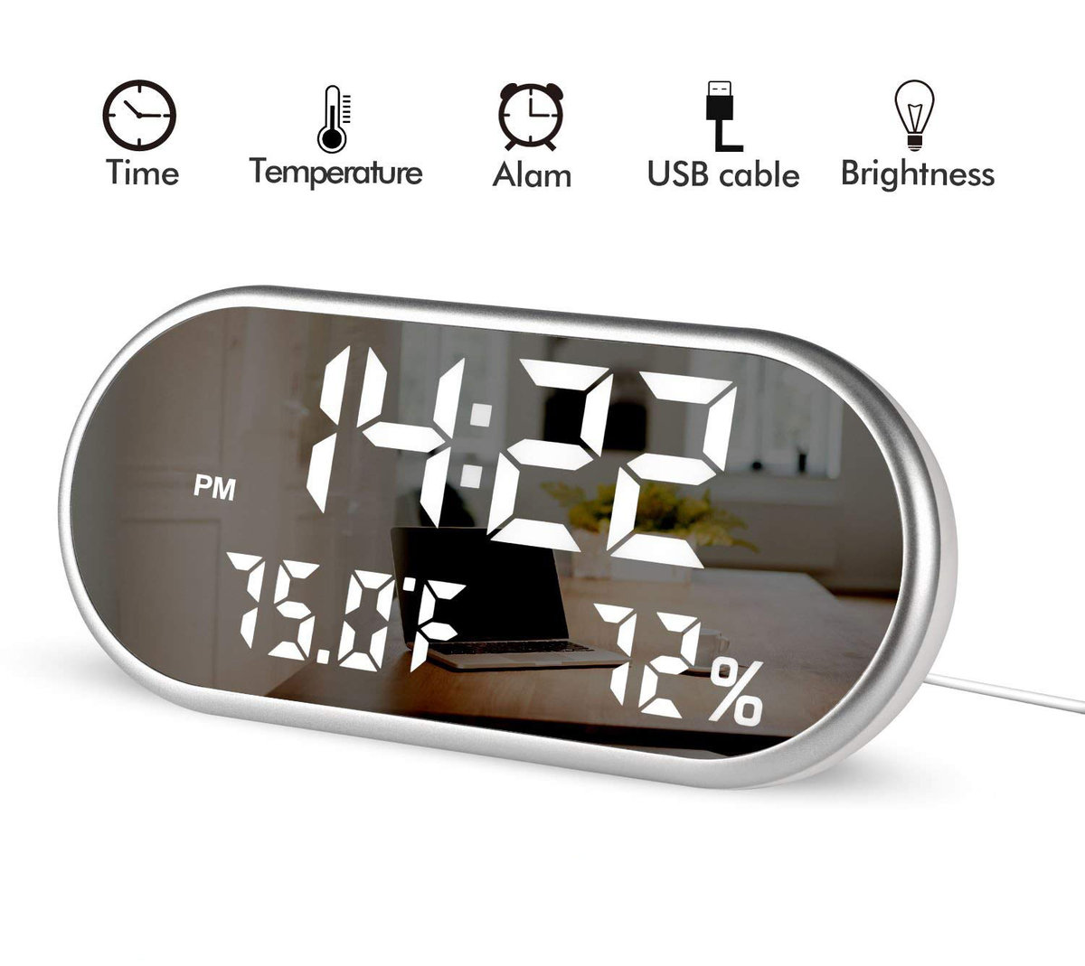BlueBeach | Multi-Function Electronic Alarm Clock Mirror