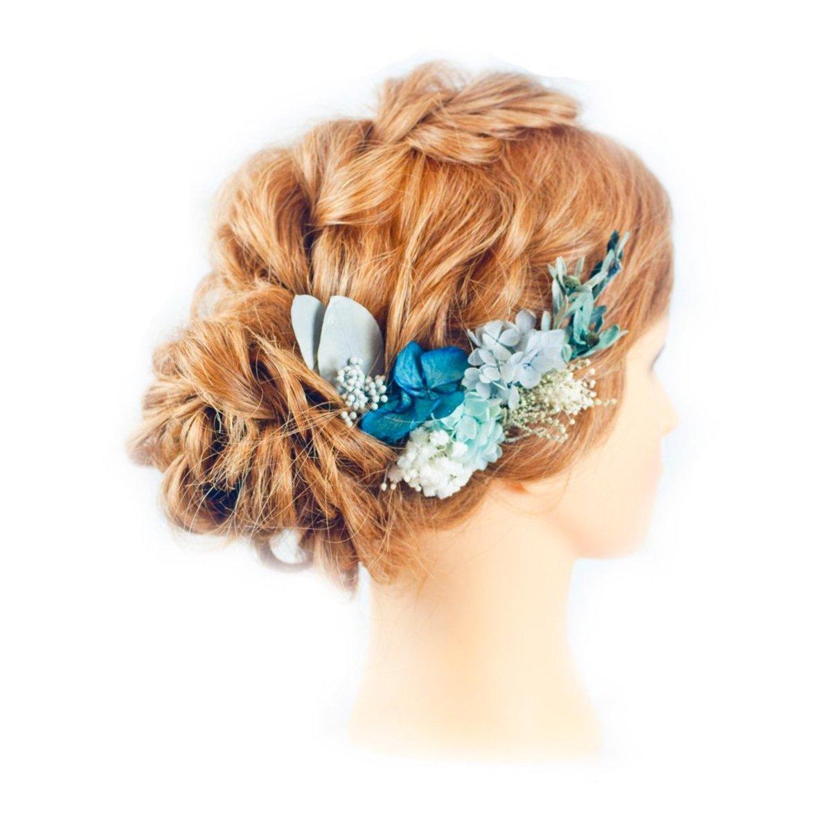 Moda flora preserved flower bridal wedding hair accessories preserved flower bridal wedding hair accessories sapphire blue izmirmasajfo