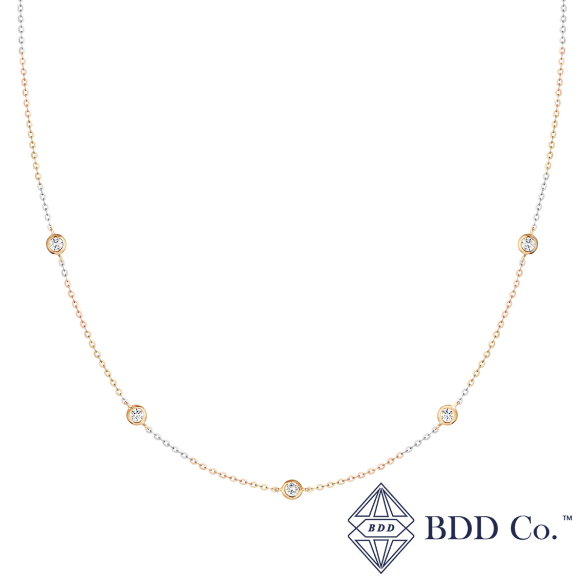 f1a49d254be8d2 14k Yellow Gold Bezel-Set Stationed Diamond Necklace (0.461 ct. tw.)
