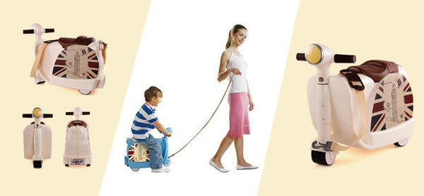 配有肩帶,可作為旅行袋或玩具摩托車 2 合 1 兒童啡色行李箱