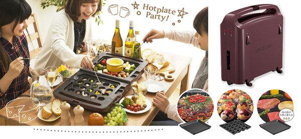 雙烤盤設計,自設溫度 IRIS Ohyama 雙面摺疊電烤盤