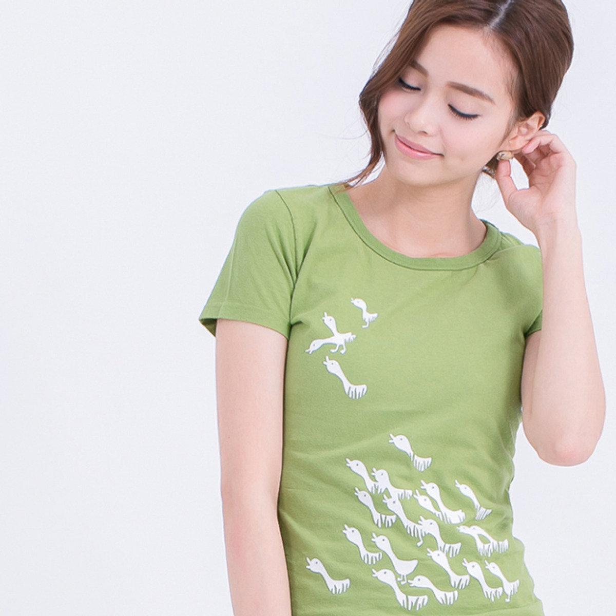 稻鴨蜜桃棉女T-芥末綠