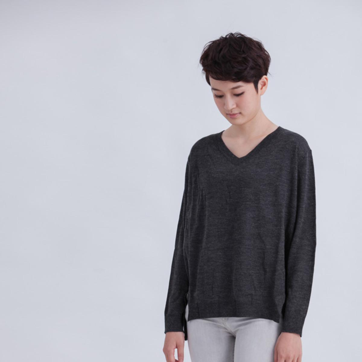 Aimee V領長短身針織衫/深灰