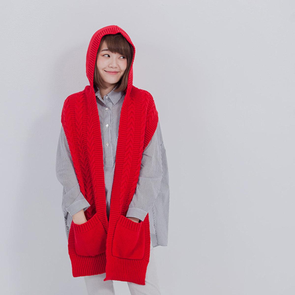 Goody 連帽針織圍巾/紅