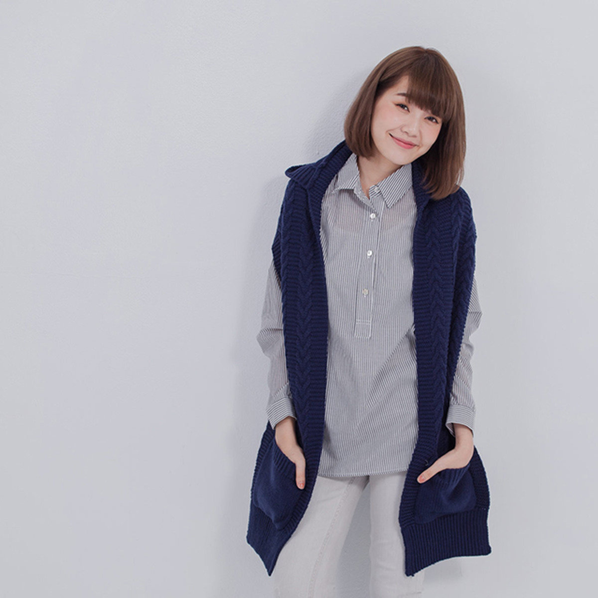 Goody 連帽針織圍巾/藍