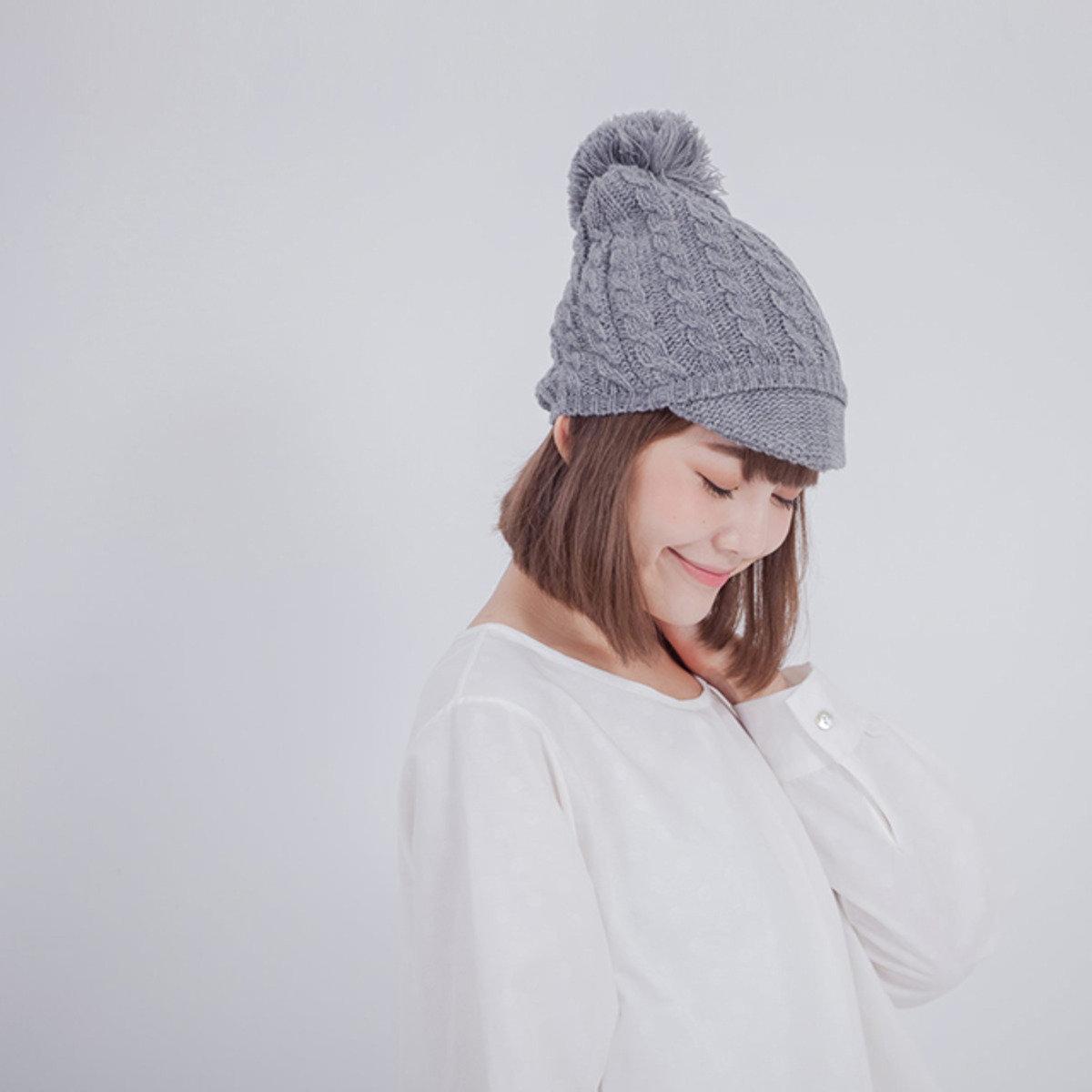 Ivory 麻花帽筵針織毛帽/中灰