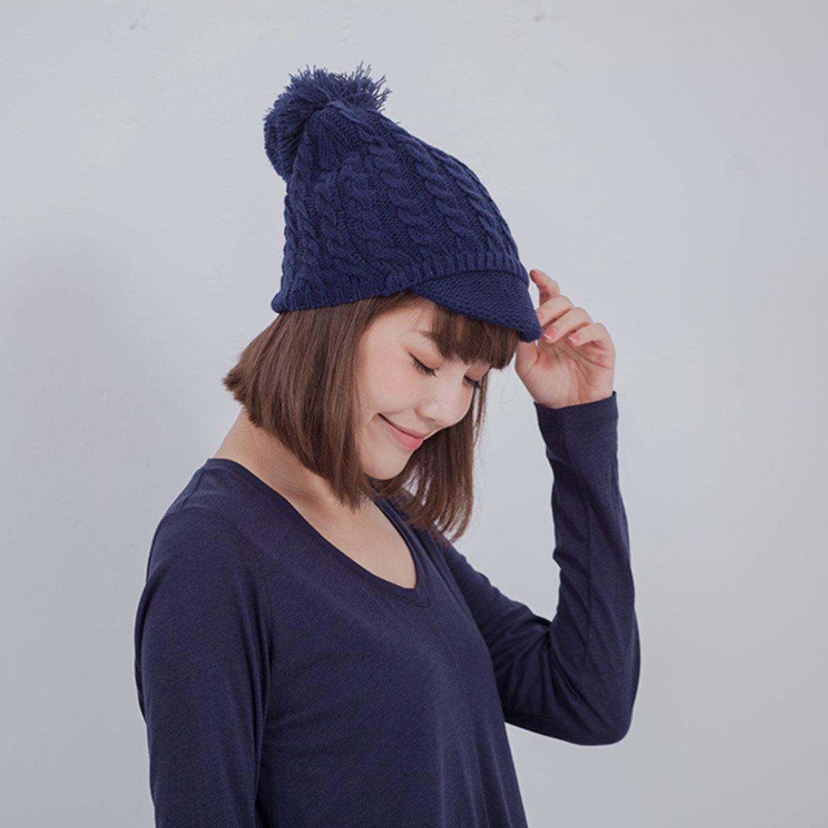 Ivory 麻花帽筵針織毛帽/藍