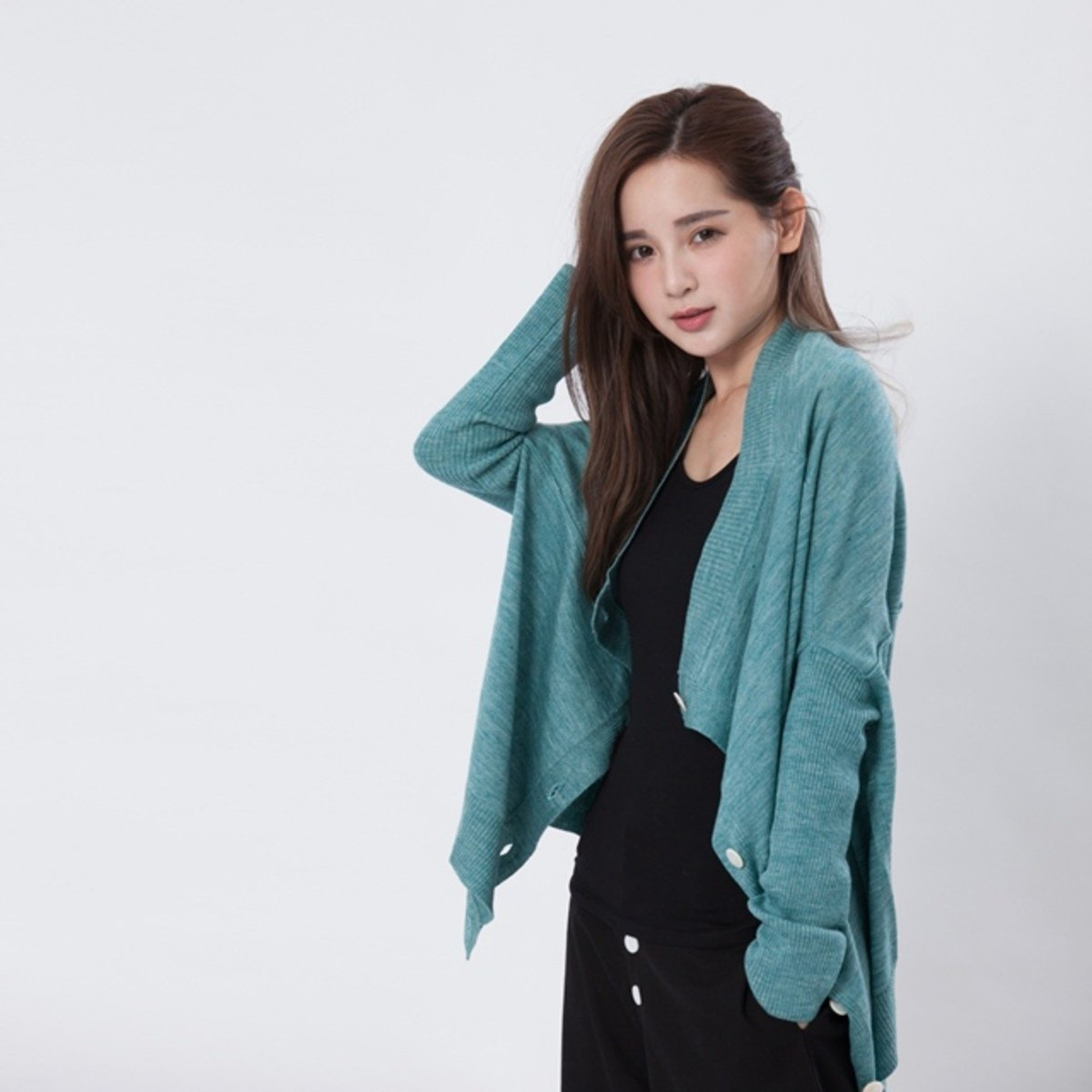 Carmen 蛹型開襟針織衫/淺藍綠