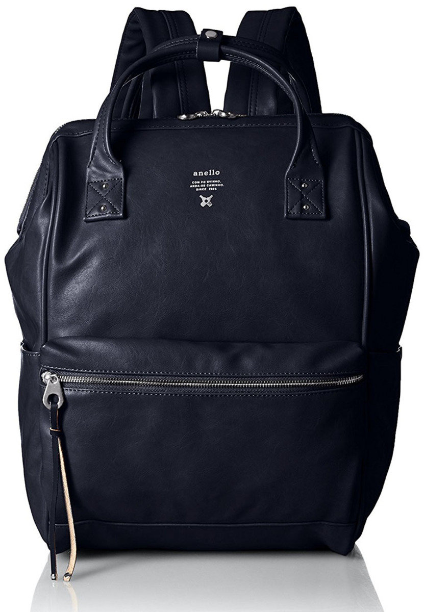 Smooth Leather Backpack ATB1511-Navy