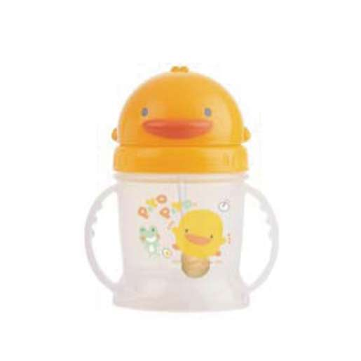 黃色小鴨自動吸管滑蓋練習杯