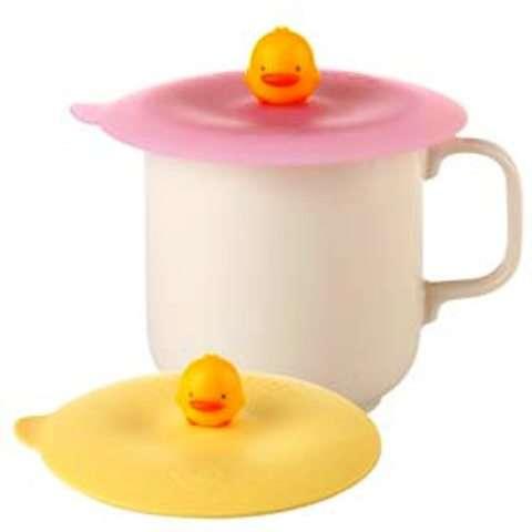 黃色小鴨 防曬保鮮杯蓋 (粉紅色)