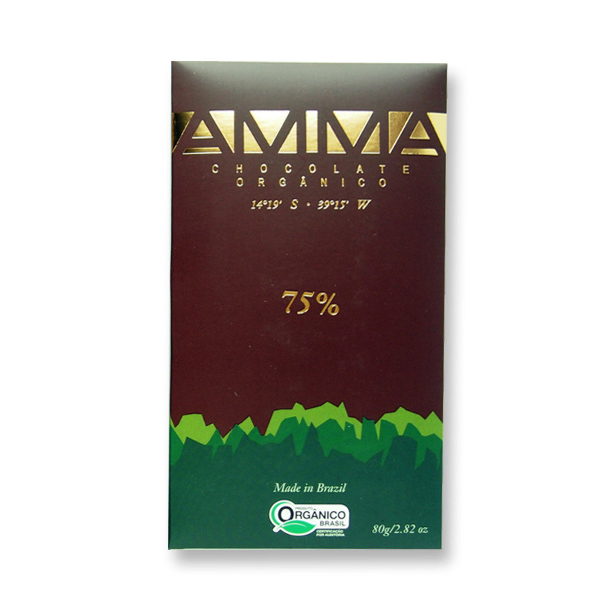 Organic dark chocolate bar 75%