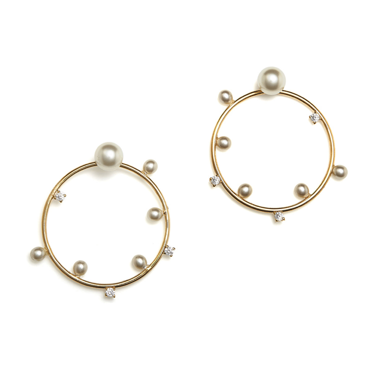 Vivace : gold plating,crystal, pearl and CZ stone pierced earrings