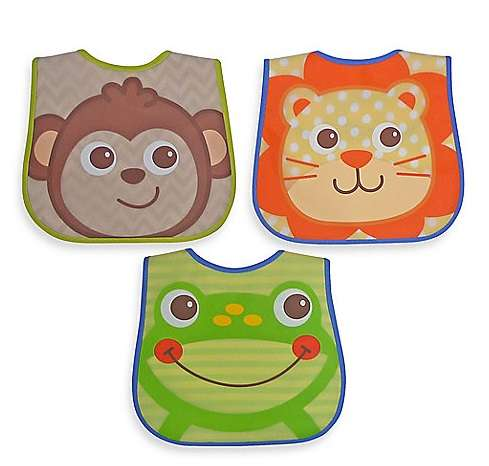 PU Baby Bibs / 100% Cotton Backing (3pcs Pack, Cutie Animal Pattern for Boys)