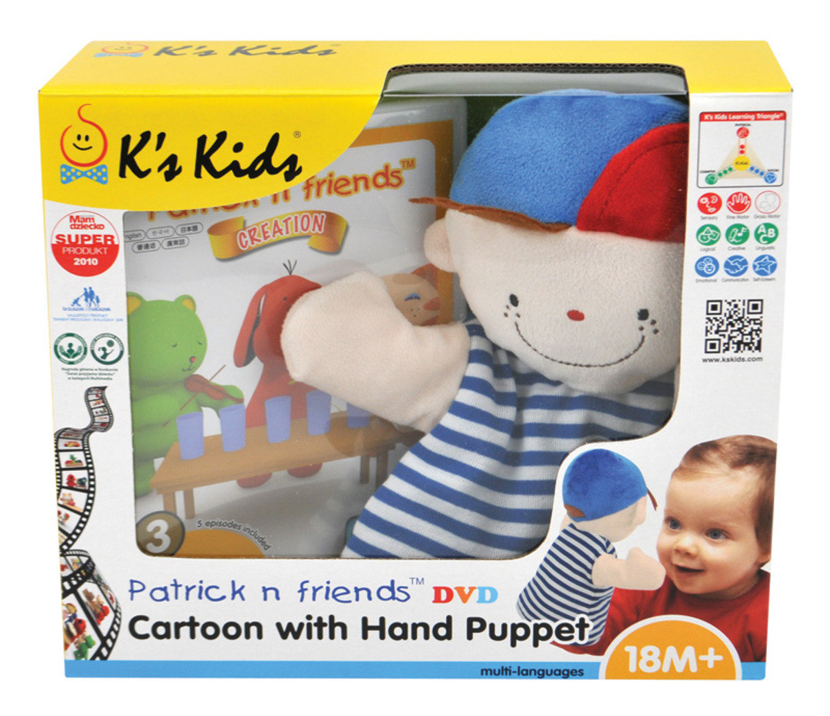 KC91102-Patrick n Friends DVD Cartoon with Hand Puppet - Wayne