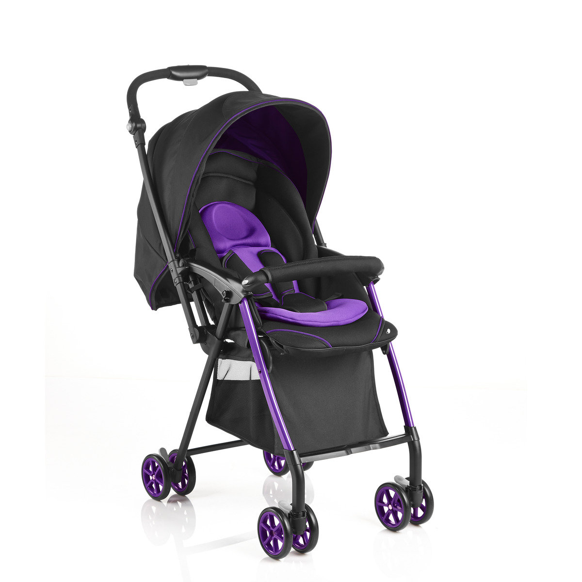50cm Seat Height Reversible Handle Baby Stroller - Black Purple