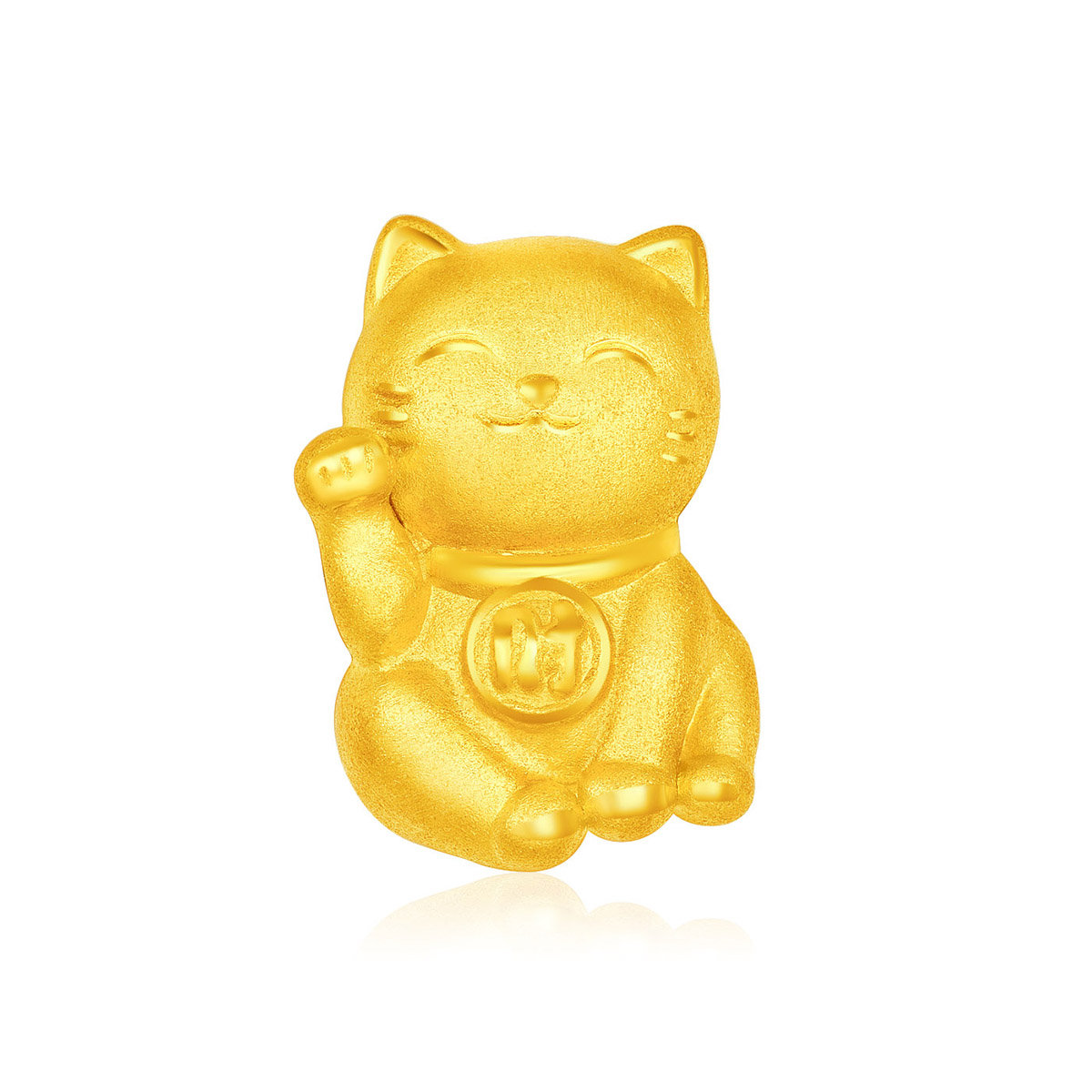 Fortune Cat 999 Gold Pendant (with String)