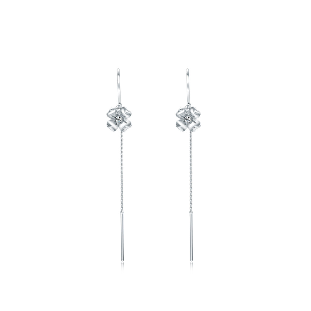 Love in Petals: 18K/750 White Gold Diamond Earrings