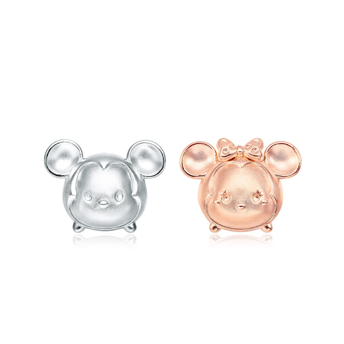 Disney Tsum Tsum Collection: Mickey Mouse and Minnie Mouse 18K/750 White, Rose Gold Earrings
