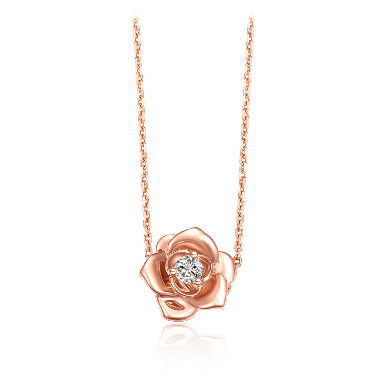 Love in Petals:18K/ 750 Rose Gold diamond necklace
