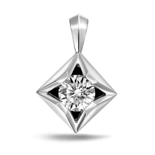 18K/750白色黃金鑲天然鑽石吊墜