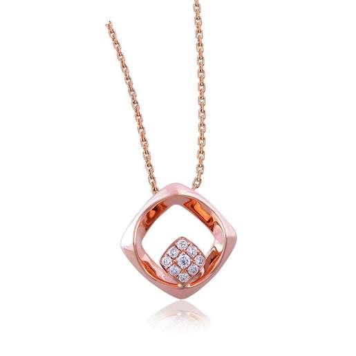 18K/750玫瑰色黃金鑲天然鑽石吊墜
