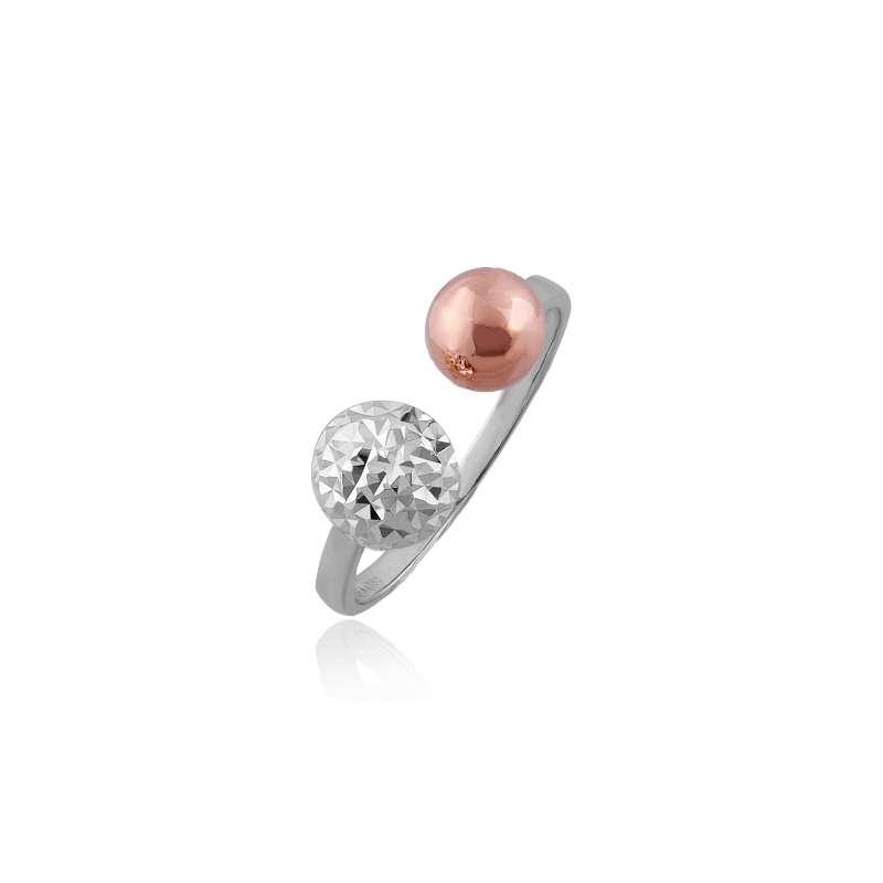 18K/750 Rose/White Gold Ring