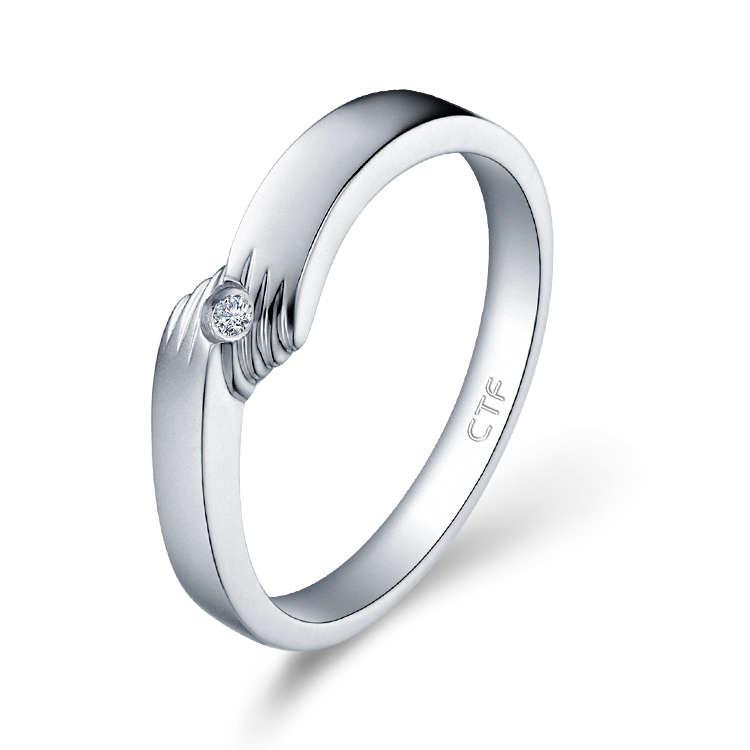 PT950鉑金鑲天然鑽石戒指