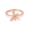 18K/750玫瑰色黃金鑲天然鑽石戒指