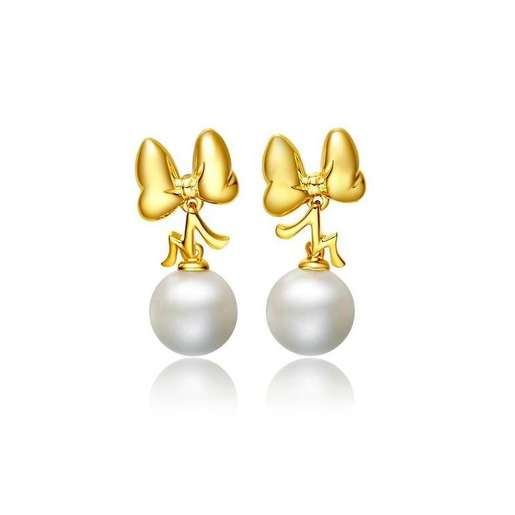 迪士尼經典系列18K/750黃金淡水養殖珍珠耳環